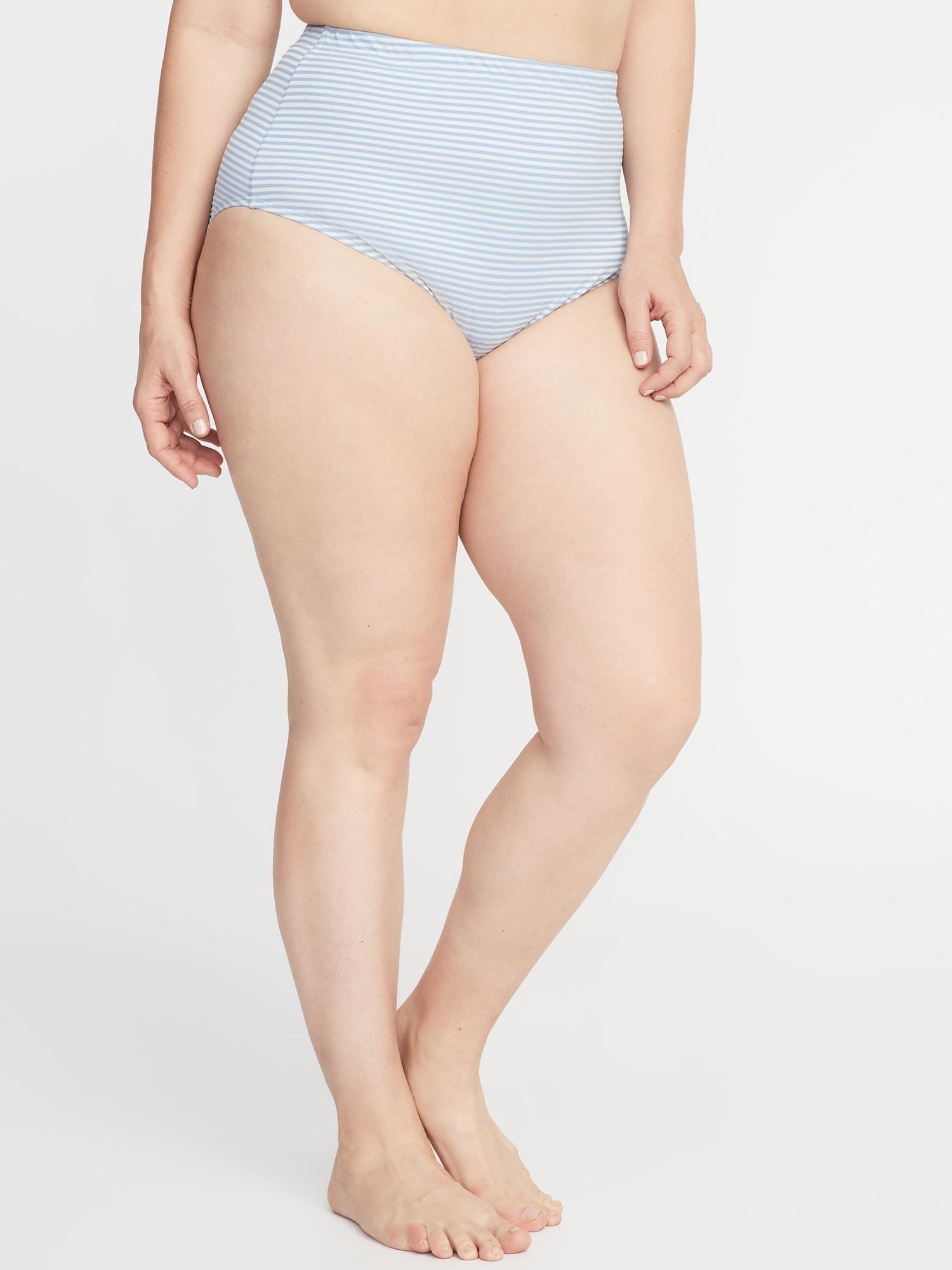 6df6374c960 High-Rise Secret-Slim Textured-Stripe Plus-Size Swim Bottoms | Old Navy
