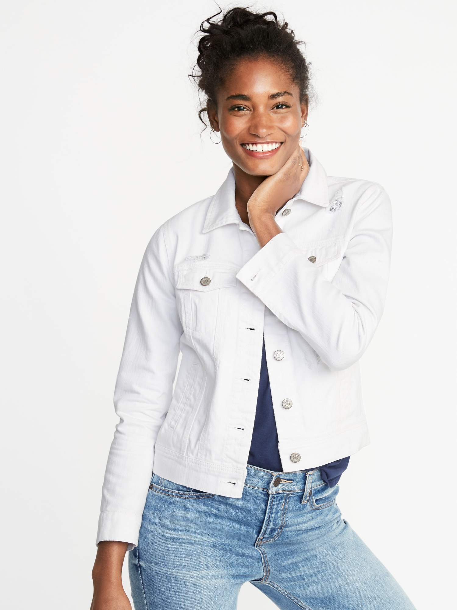 authentic offer discounts finest selection Distressed White Jean Jacket For Women | Old Navy