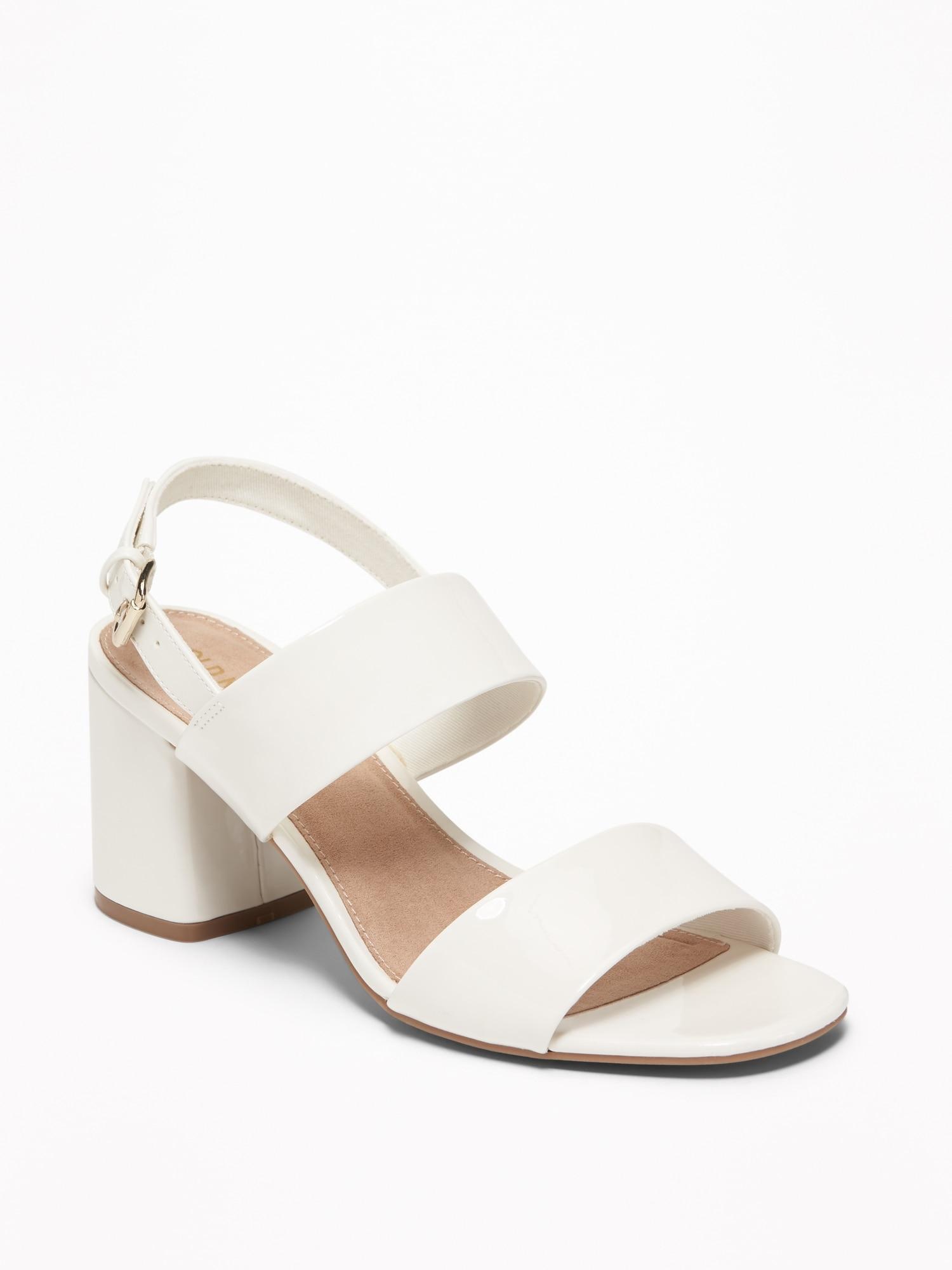 2f2cc7e19525fd Faux-Leather Slingback Block-Heel Sandals for Women
