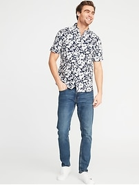 b444e0654c Slim-Fit Built-In Flex Printed Everyday Shirt for Men