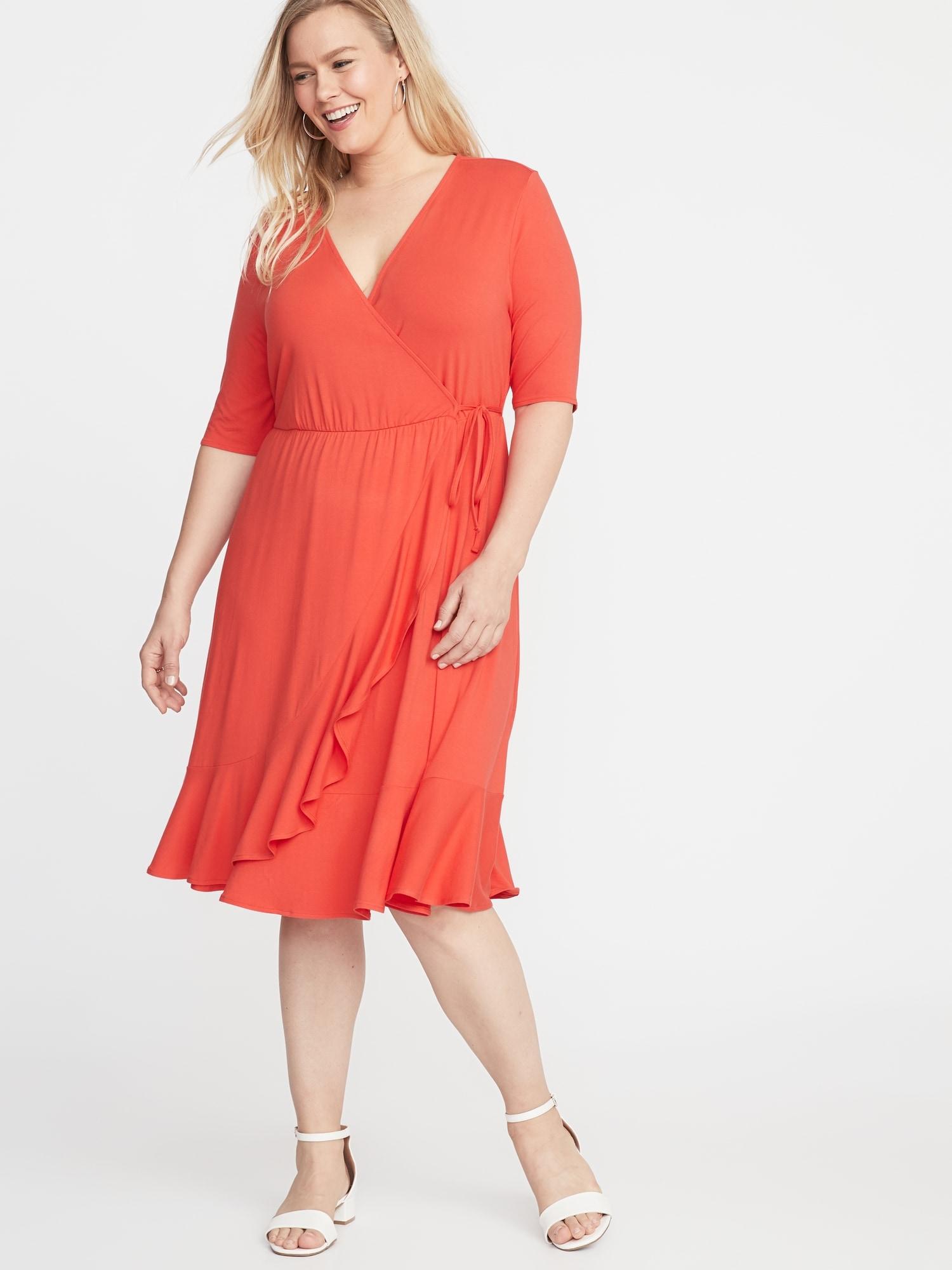 c69f677160b Waist-Defined Faux-Wrap Jersey Plus-Size Dress