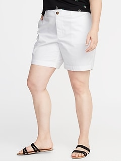 Mid-Rise Plus-Size Twill Everyday Shorts - 7-Inch Inseam