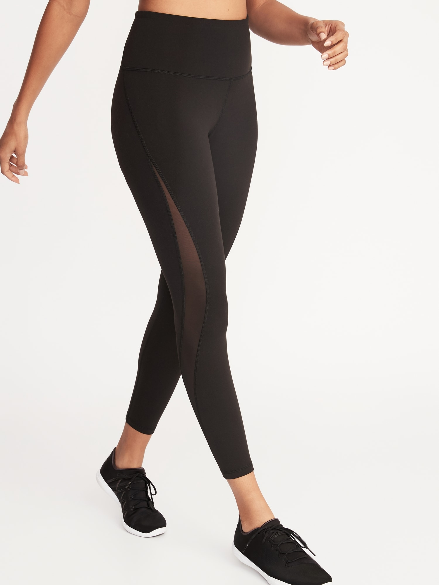 50350b72a High-Rise Elevate 7 8-Length Mesh-Trim Compression Leggings for Women
