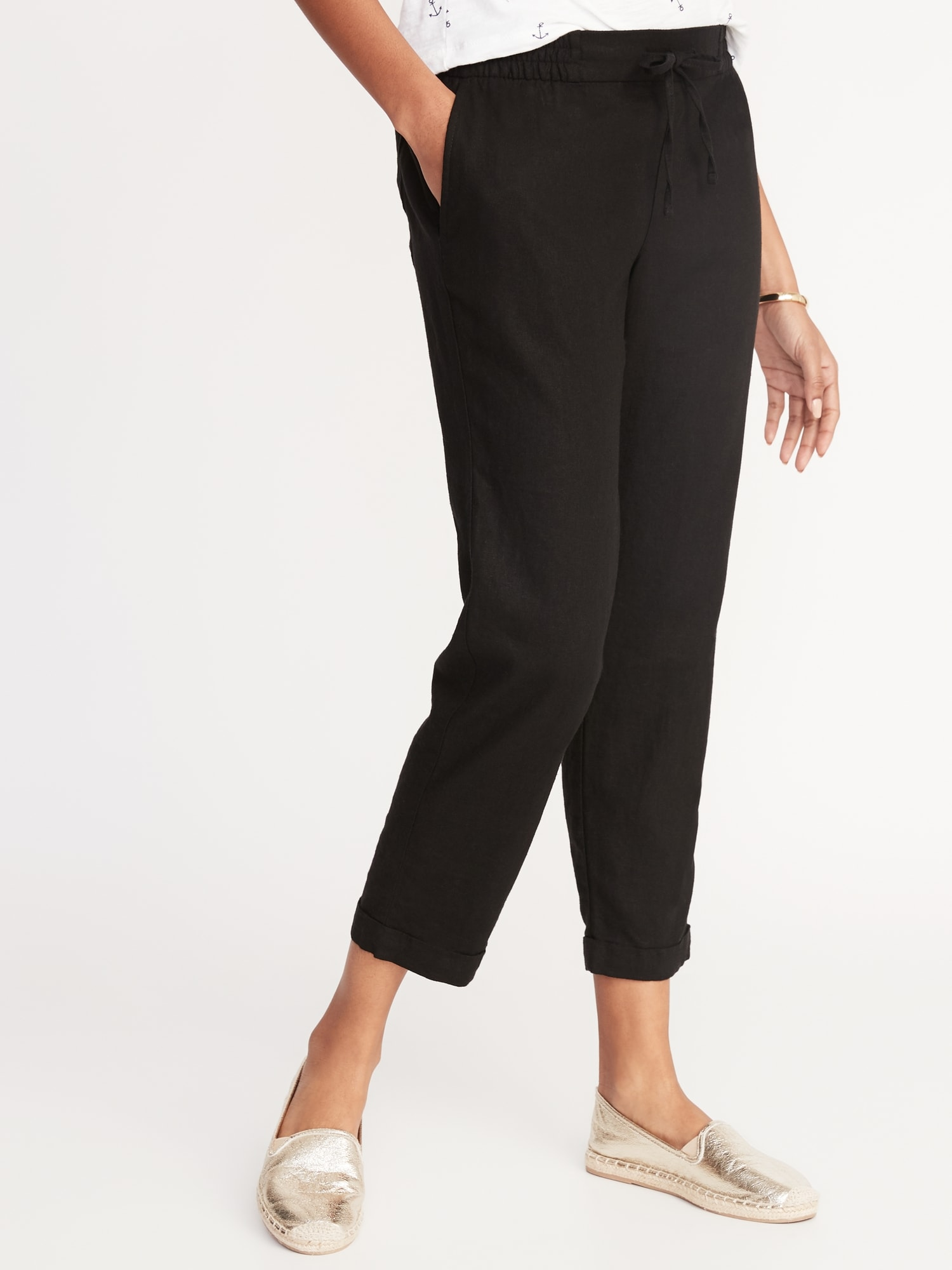 a5b8597305c Mid-Rise Linen-Blend Straight-Leg Cropped Pants for Women