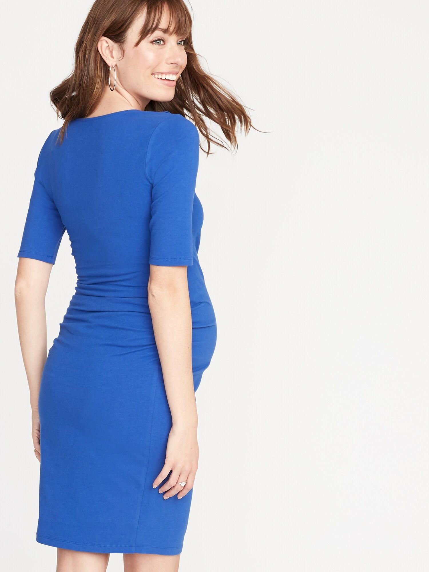 7babbf0d633 Maternity Ruffled Surplice Bodycon Dress