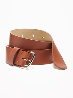 Faux-Leather Belt for Women (1 1/4