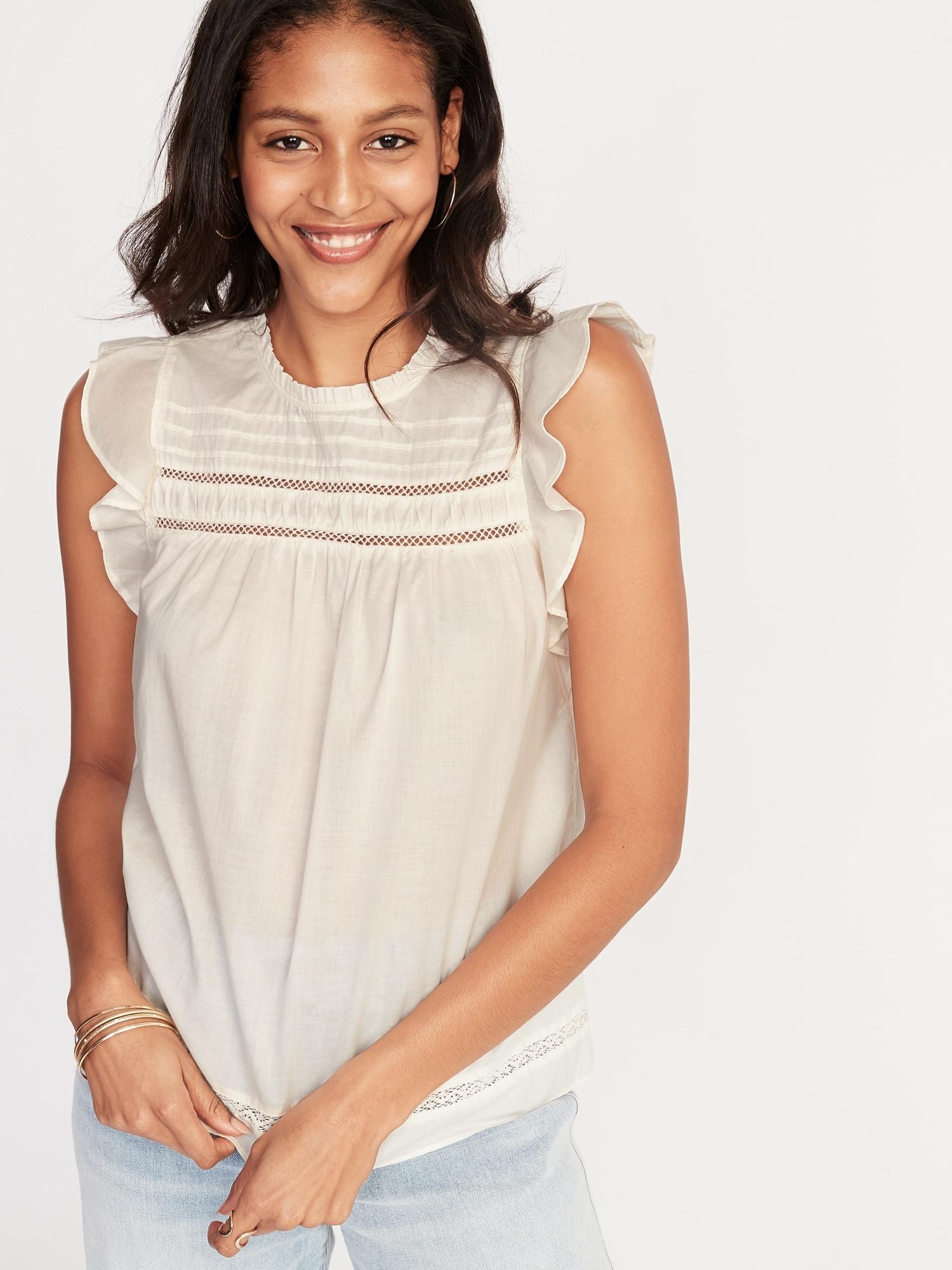 8e0504859d7f Ruffled Crochet Lace-Trim Flutter-Sleeve Blouse for Women   Old Navy