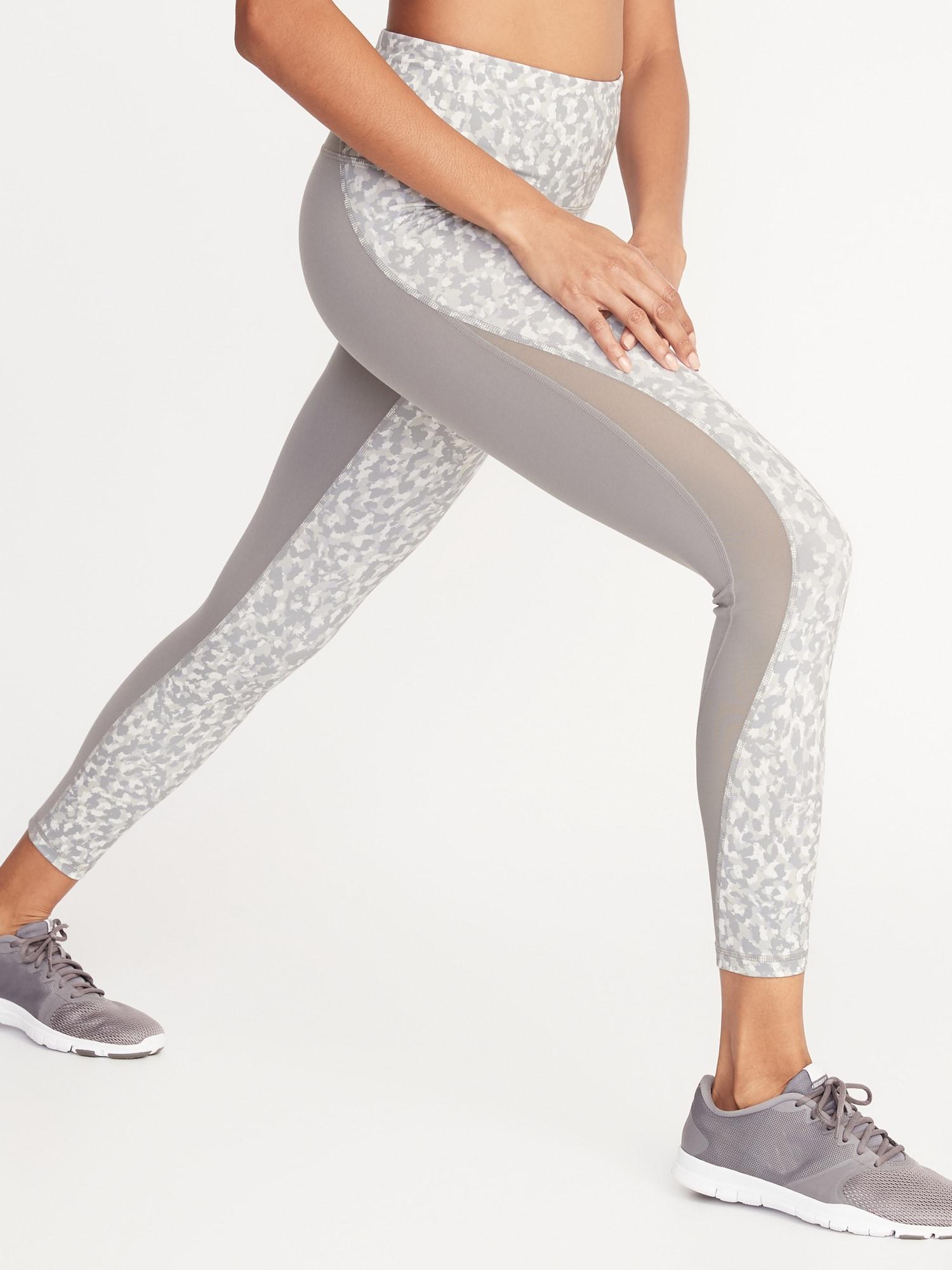 969a5c3db1 High-Rise Elevate 7/8-Length Mesh-Trim Compression Leggings for Women