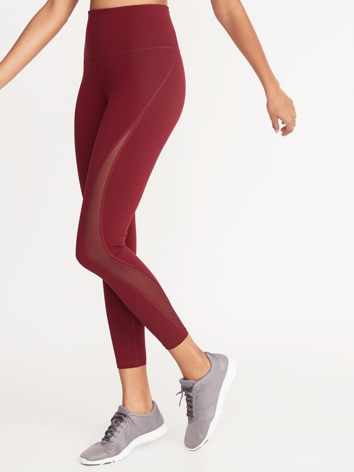 323bd1fe5115b3 High-Rise Elevate 7/8-Length Mesh-Trim Compression Leggings for Women
