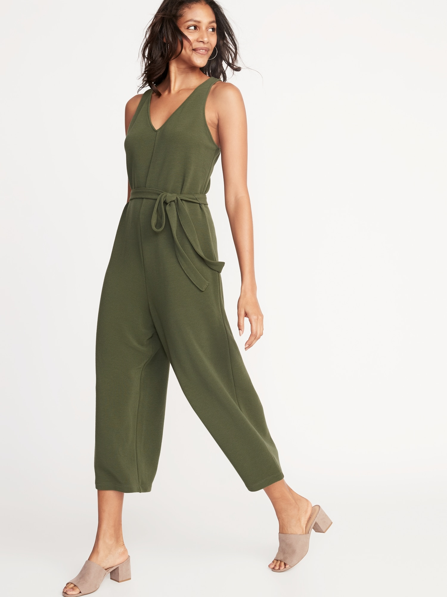 839ac743e77 Textured Ponte-Knit Tie-Belt Jumpsuit for Women