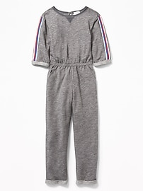 d23a3956972b French Terry Sleeve-Stripe Jumpsuit for Girls