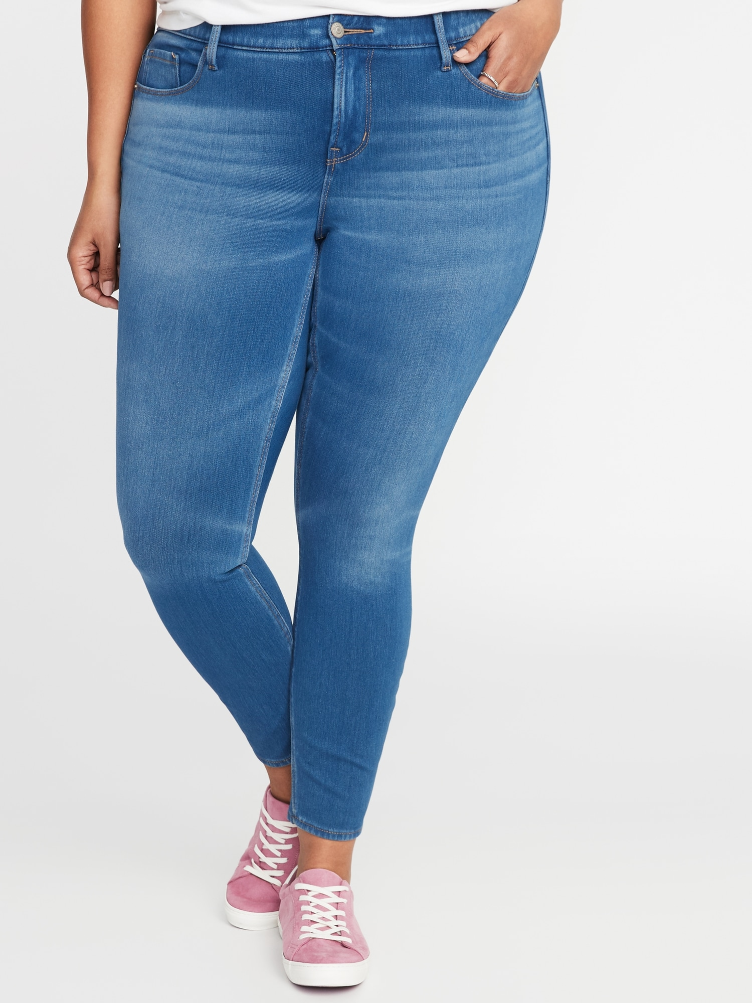 c41ab2cc739 High-Rise Plus-Size Secret-Slim Pockets + Waistband 24 7 Sculpt Rockstar  Jeans
