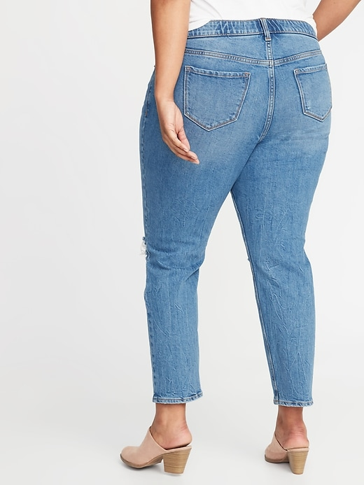 cf72be769d0e36 High-Rise Secret-Slim Pockets + Waistband Power Straight Plus-Size  Distressed Jeans