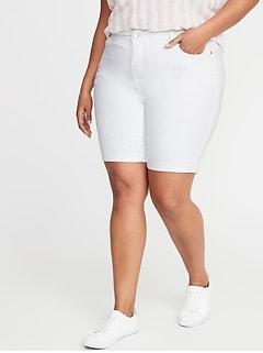 Mid-Rise Secret-Slim Pockets Plus-Size White Jean Bermuda Shorts - 9-inch inseam