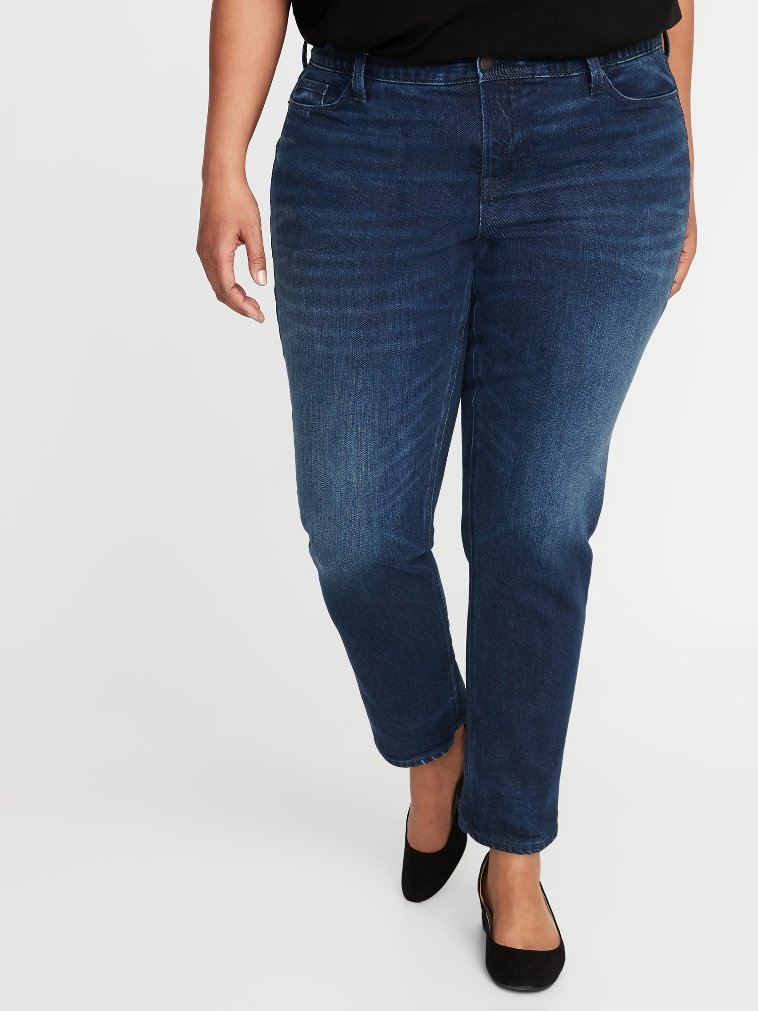 b4e050f69a40c9 High-Rise Secret-Slim Pockets + Waistband Power Slim Straight Plus-Size  Jeans
