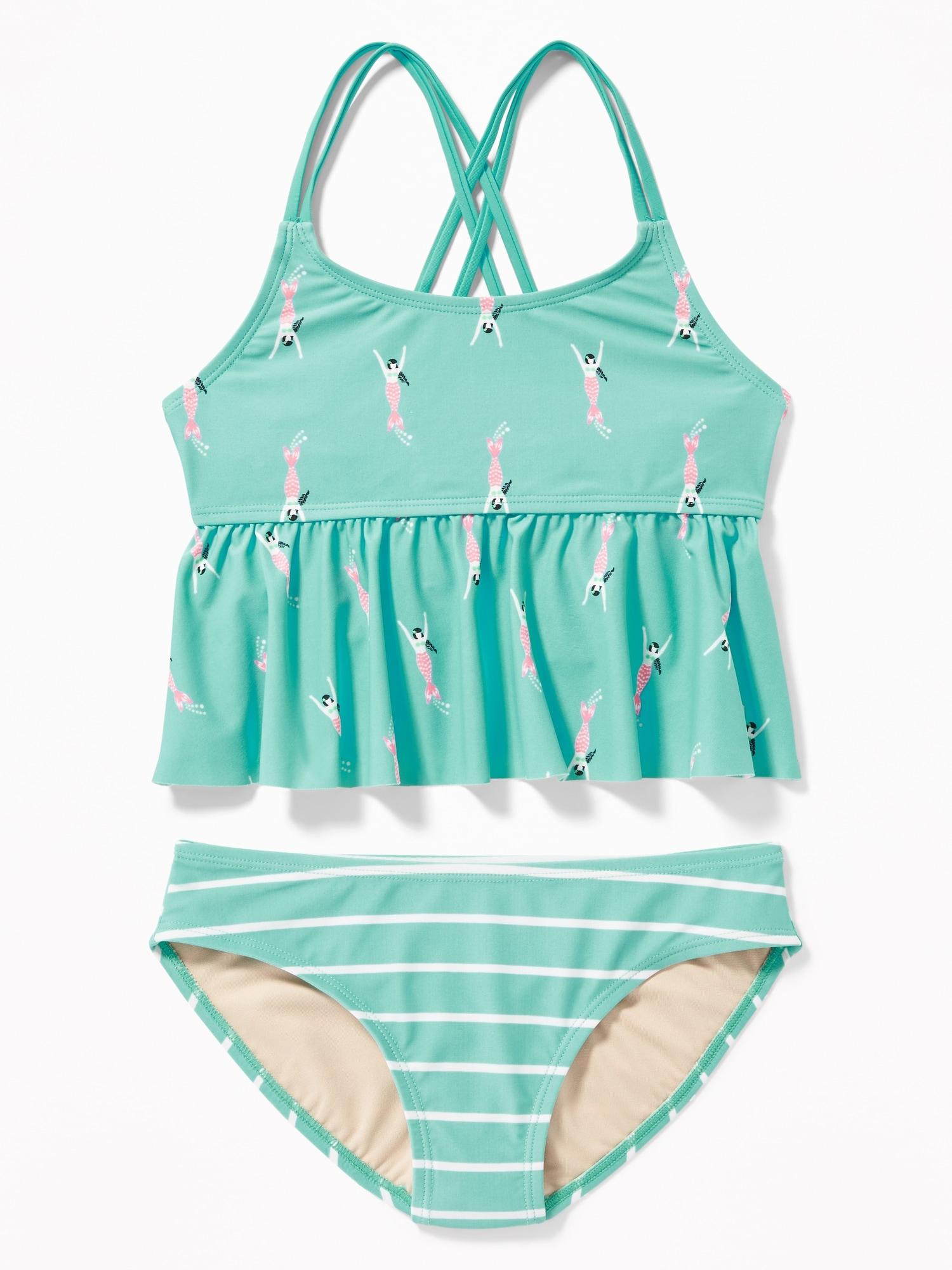 f92eecaf7fcf2 Peplum-Hem Tankini Swim Set for Girls