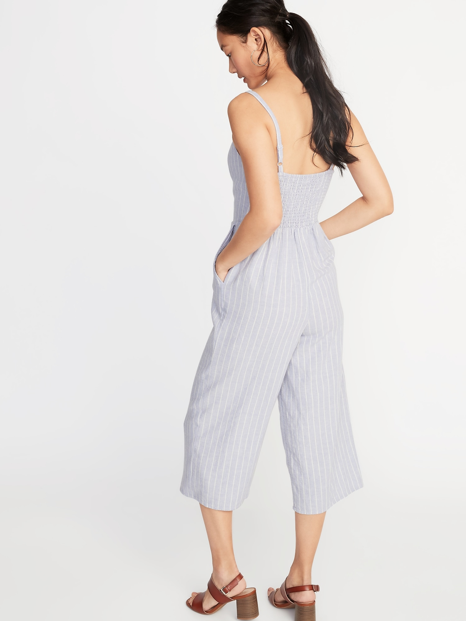 f71d5804643b Striped Linen-Blend Cami Jumpsuit for Women