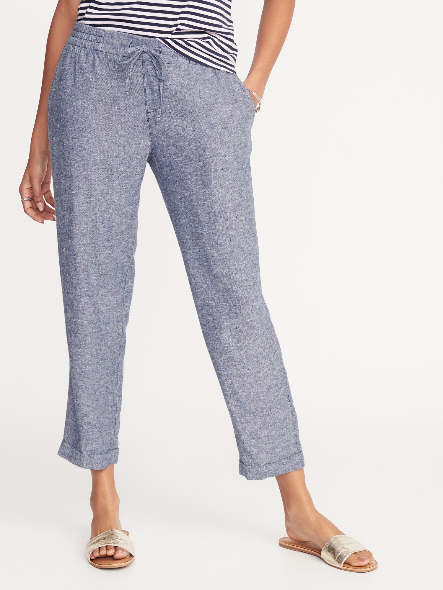 most popular hot sale good service Mid-Rise Linen-Blend Cropped Pants for Women | Old Navy