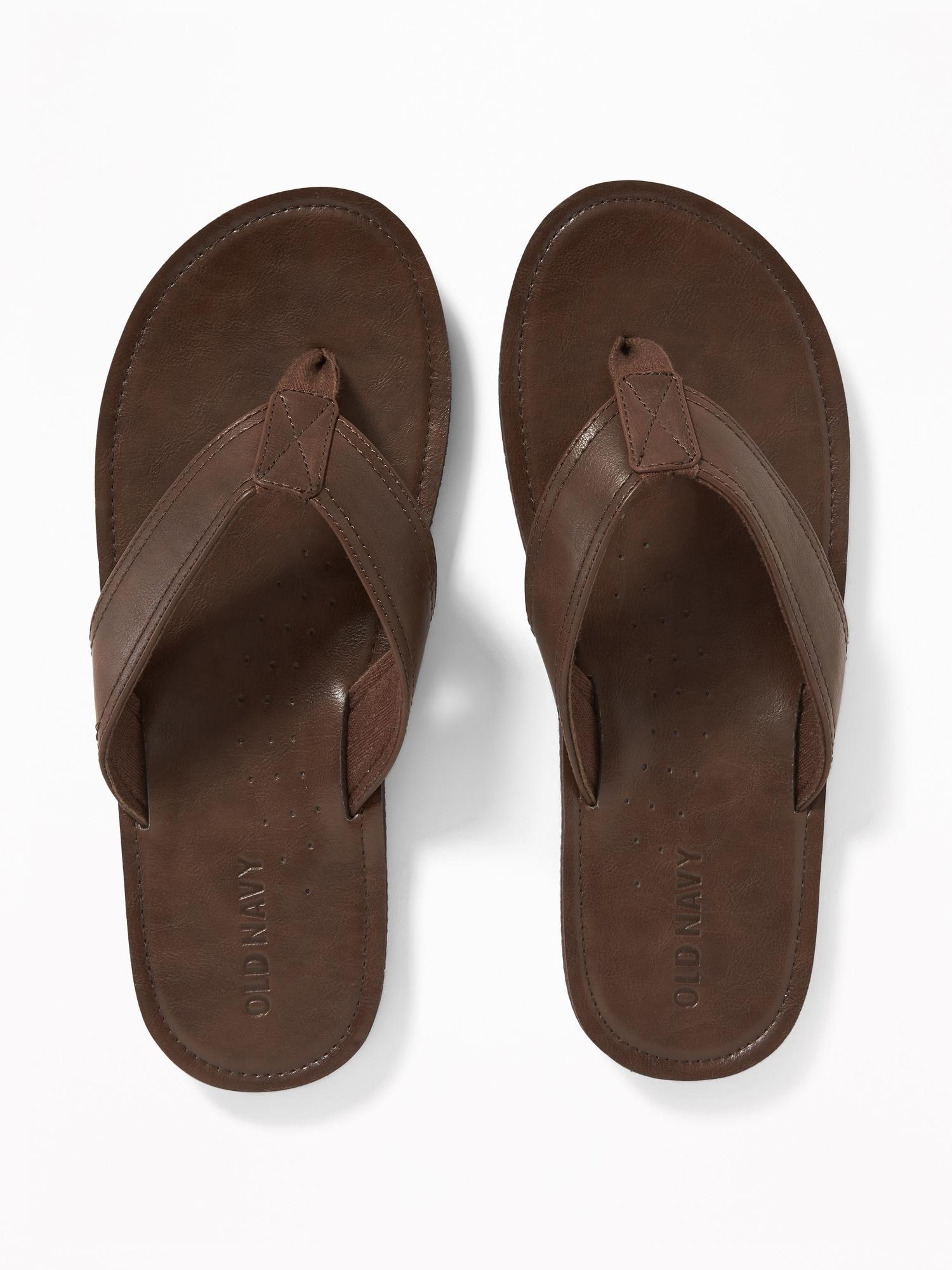 342393efd528 Faux-Leather Flip-Flops for Men