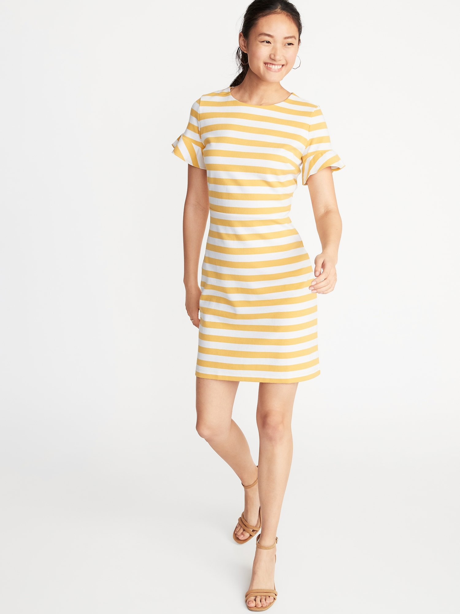 51f278b40f13c Ponte-Knit Flutter-Sleeve Sheath Dress for Women
