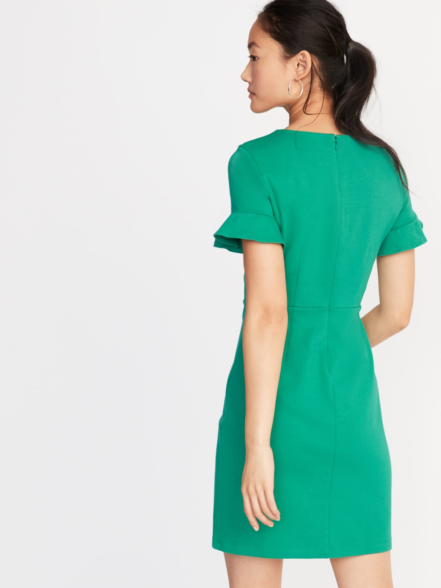 6cdb88d09ac46 Ponte-Knit Flutter-Sleeve Sheath Dress for Women