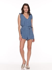 a437497cacb5 Chambray Tie-Belt Romper for Women
