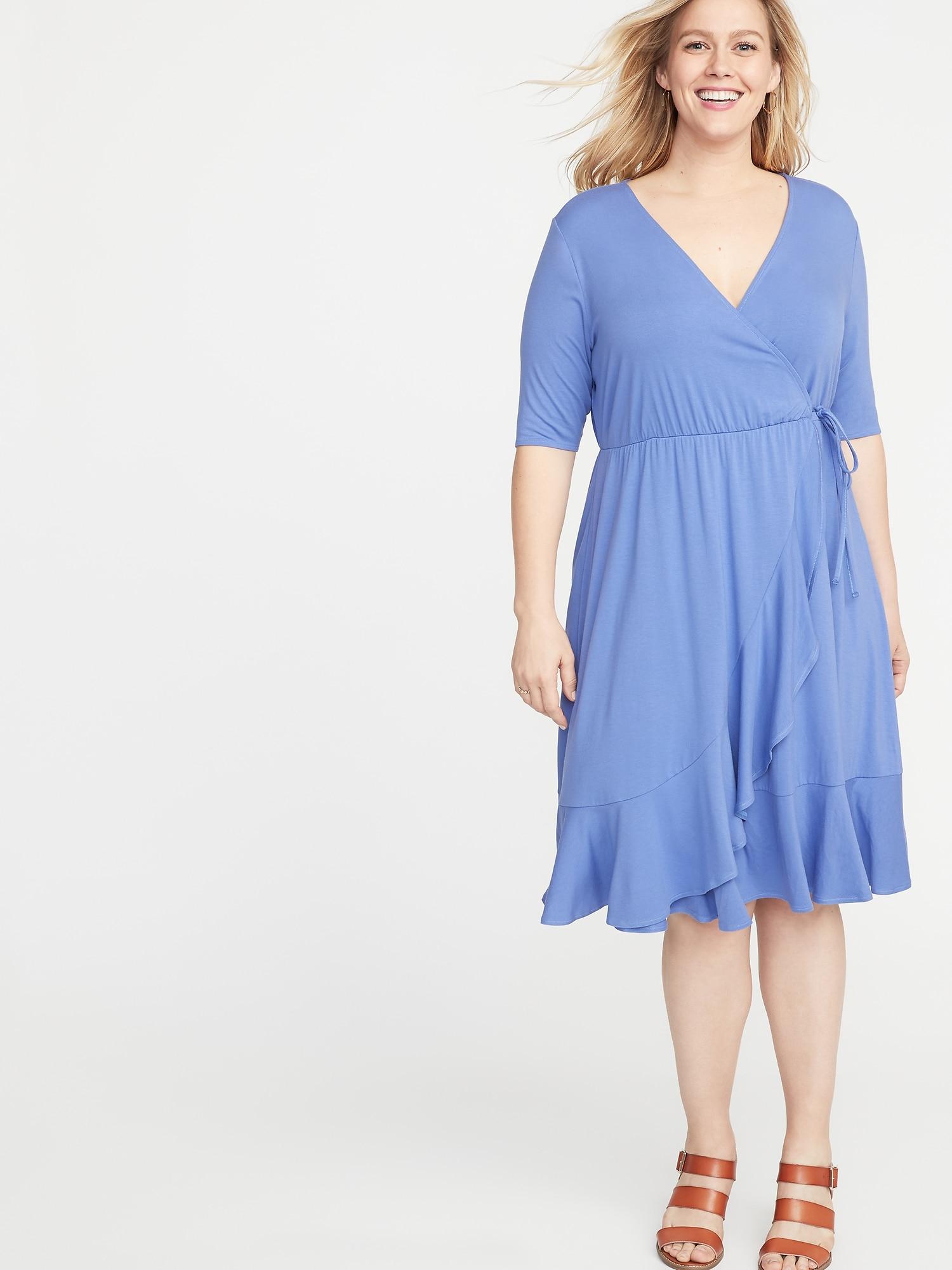 5e81b503fb Waist-Defined Faux-Wrap Jersey Plus-Size Dress