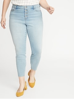 High-Waisted Secret-Slim Pockets Button-Fly Plus-Size Rockstar Super Skinny Ankle Jeans