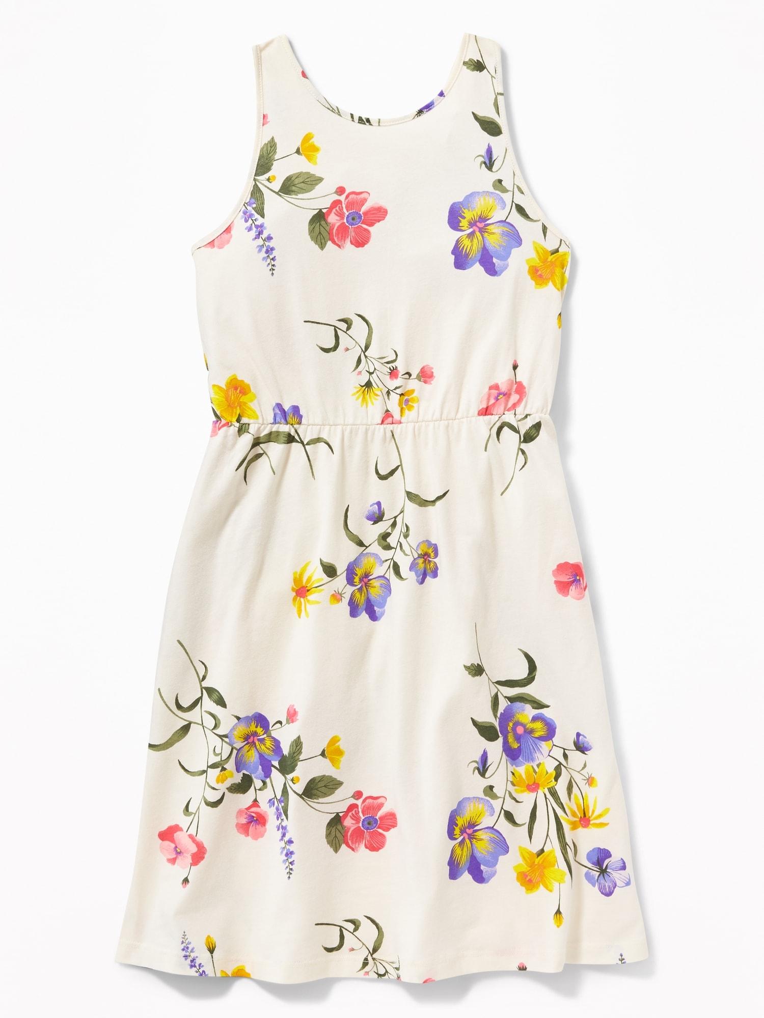 56ca3d524b5b9 Patterned Jersey Fit   Flare V-Back Dress for Girls