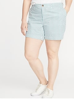 Mid-Rise Striped Everyday Plus-Size Shorts - 7-Inch Inseam