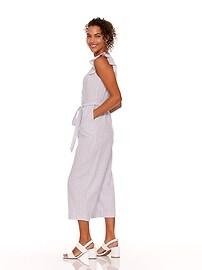 ef6931a897 Faux-Wrap Tie-Belt Linen-Blend Jumpsuit for Women
