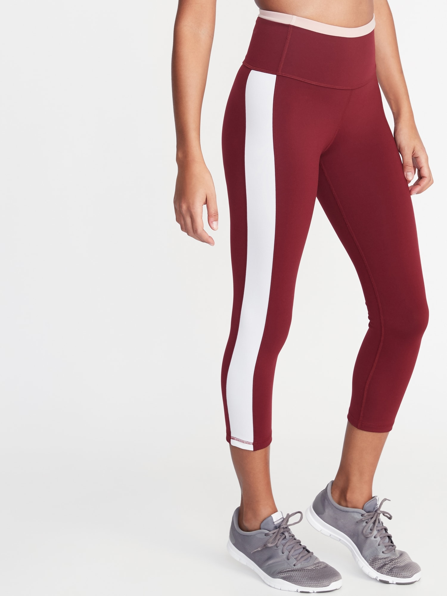 06f186aa7439b2 High-Rise Elevate Side-Stripe Compression Crops for Women | Old Navy