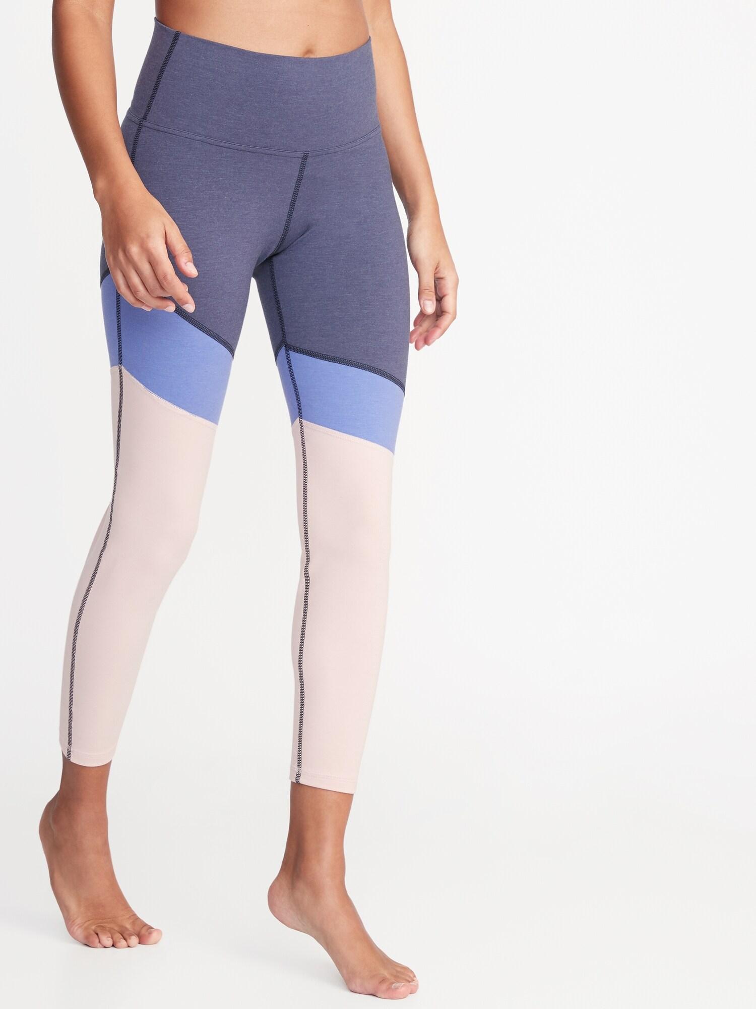 2af488e6ed6f1 High-Rise Color-Blocked 7/8-Length Yoga Leggings for Women | Old Navy