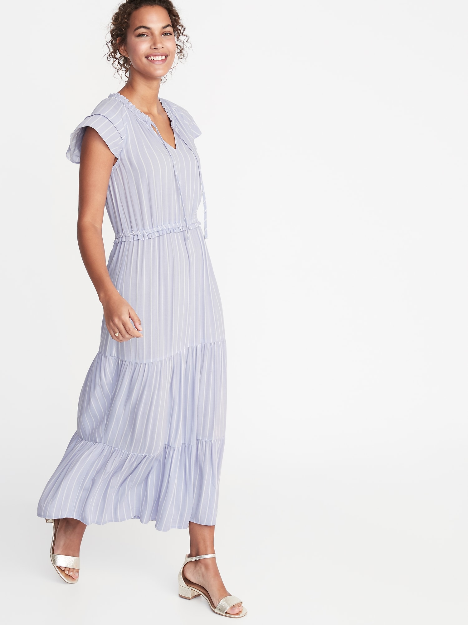 Dept Maxi Jurk.Waist Defined Crepe Maxi Dress For Women Old Navy