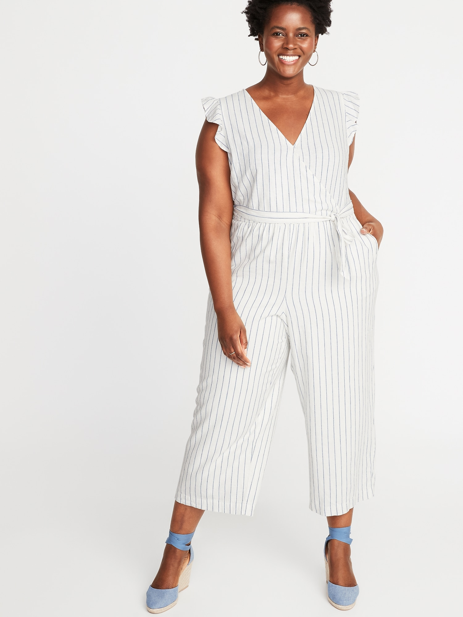 fc0d479e67 Linen-Blend Faux-Wrap Tie-Belt Plus-Size Jumpsuit