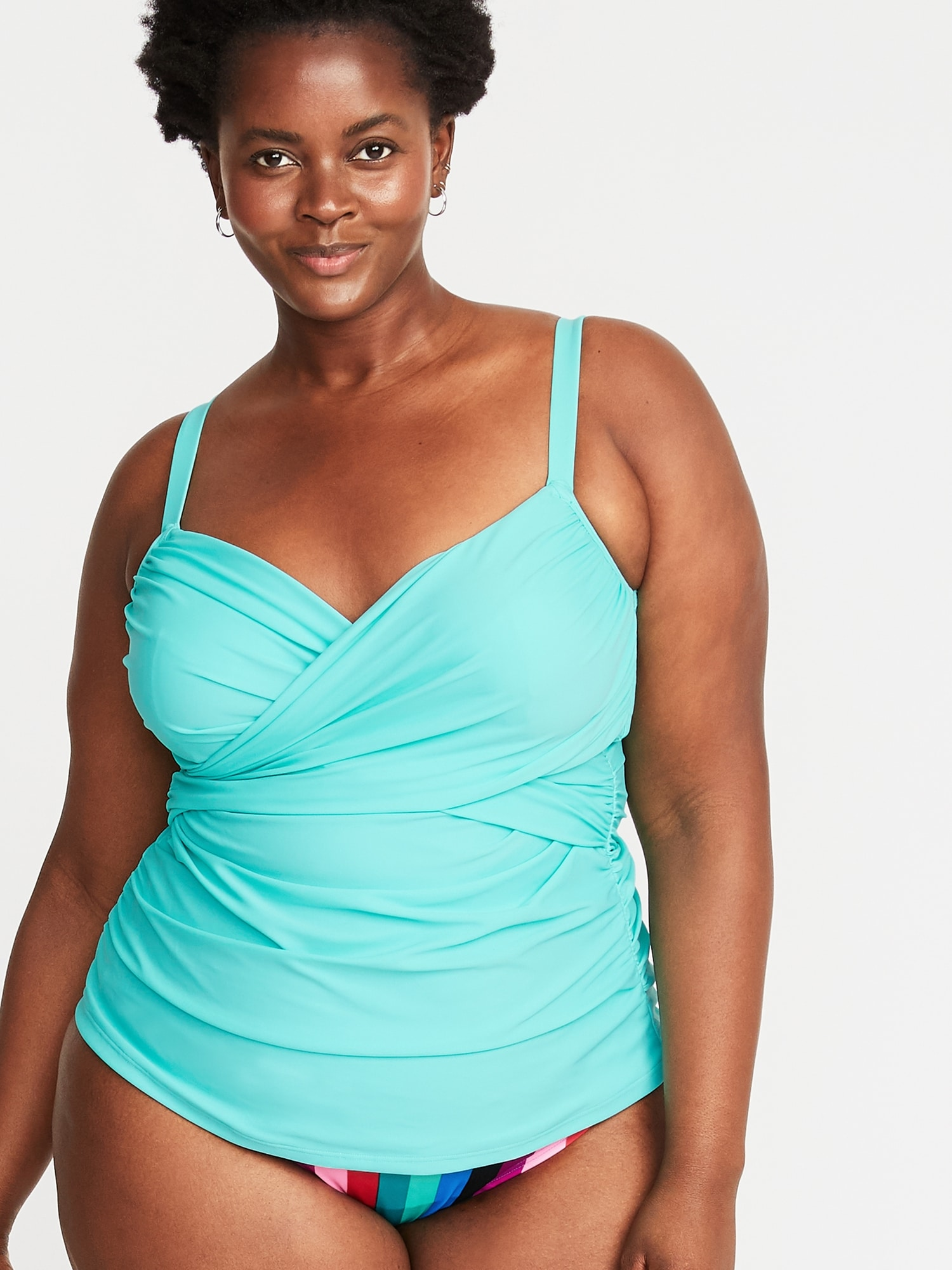438ae4b605b Wrap-Front Secret-Slim Plus-Size Tankini Swim Top