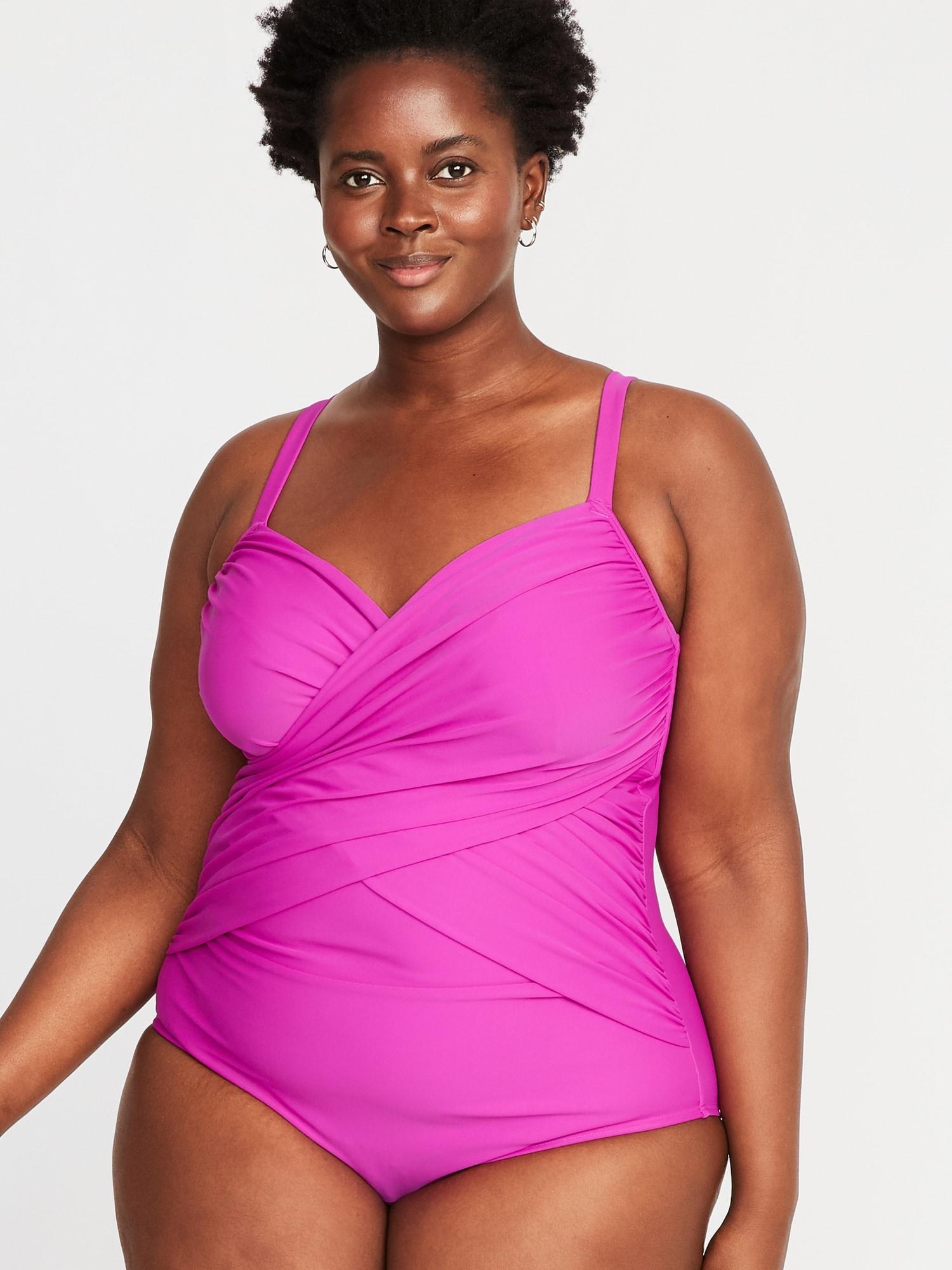 297a9583c48fe Wrap-Front Secret-Slim Plus-Size Swimsuit