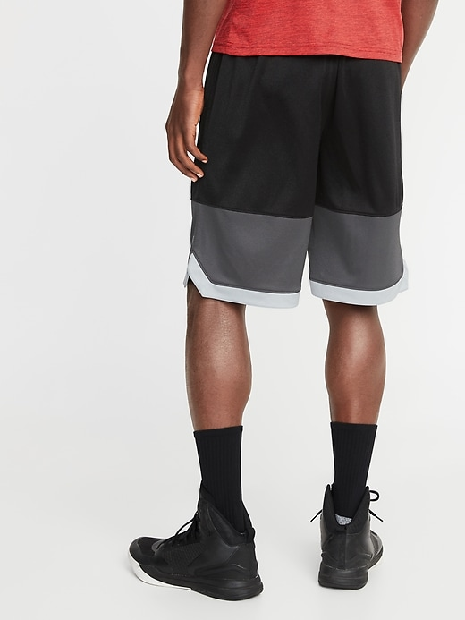 Go-Dry Color-Block Mesh Basketball Shorts for Men - 10-inch inseam