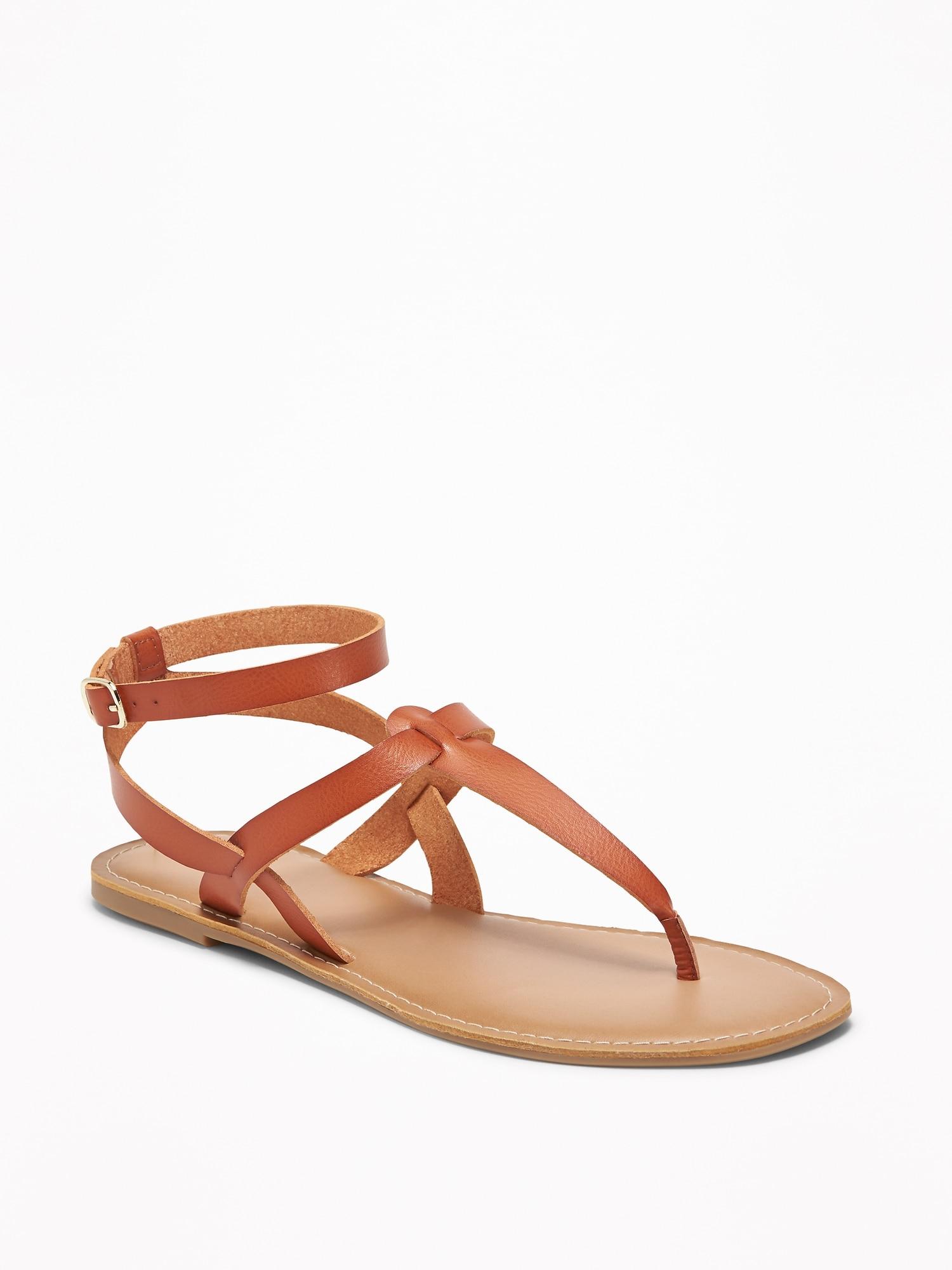 27e13c1d7 Faux-Leather T-Strap Sandals for Women