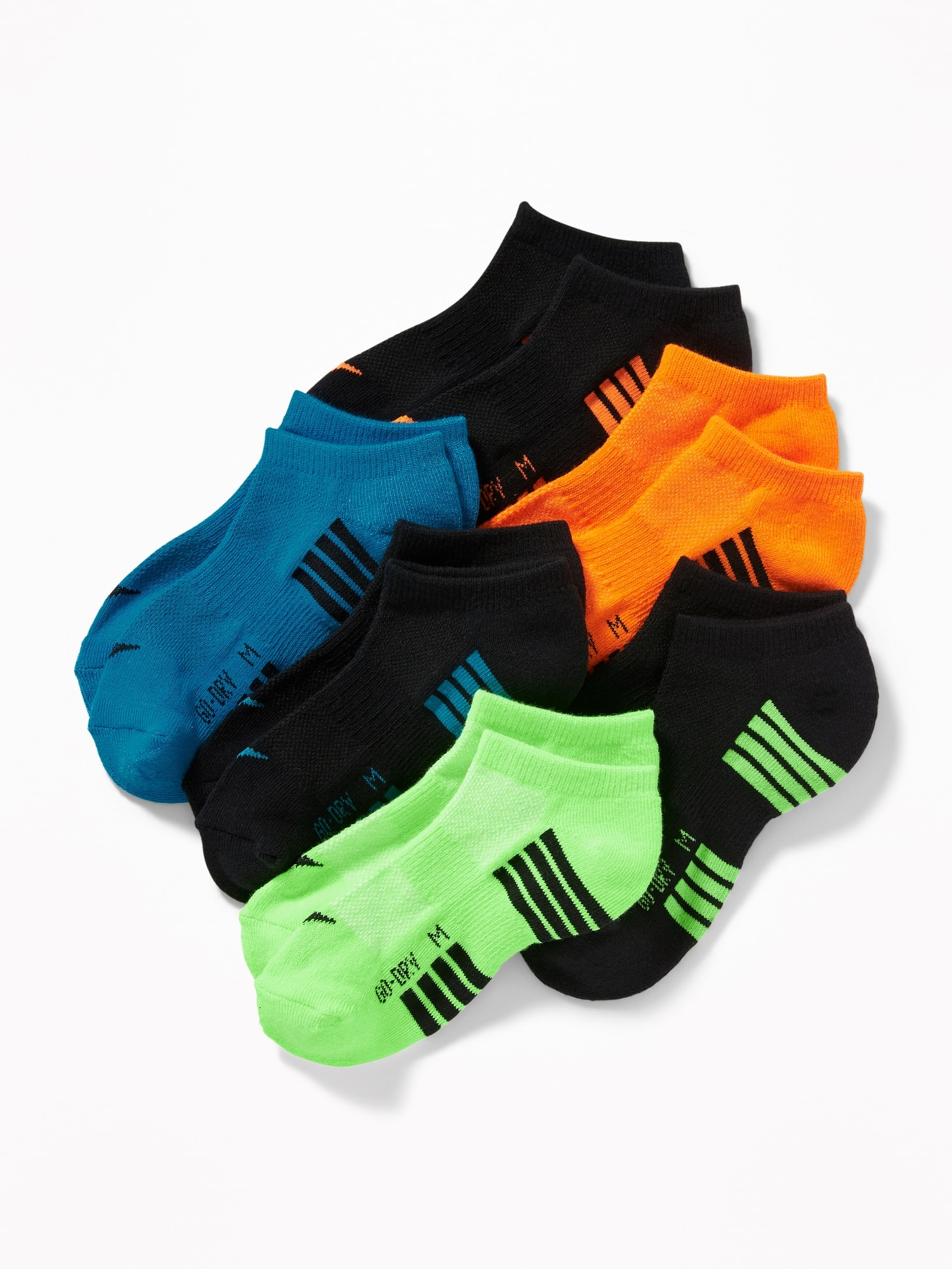 Old Navy Boy/'s Active Go-Dry Moisture Wicking Neon Crew Socks ☆You Choose Size☆