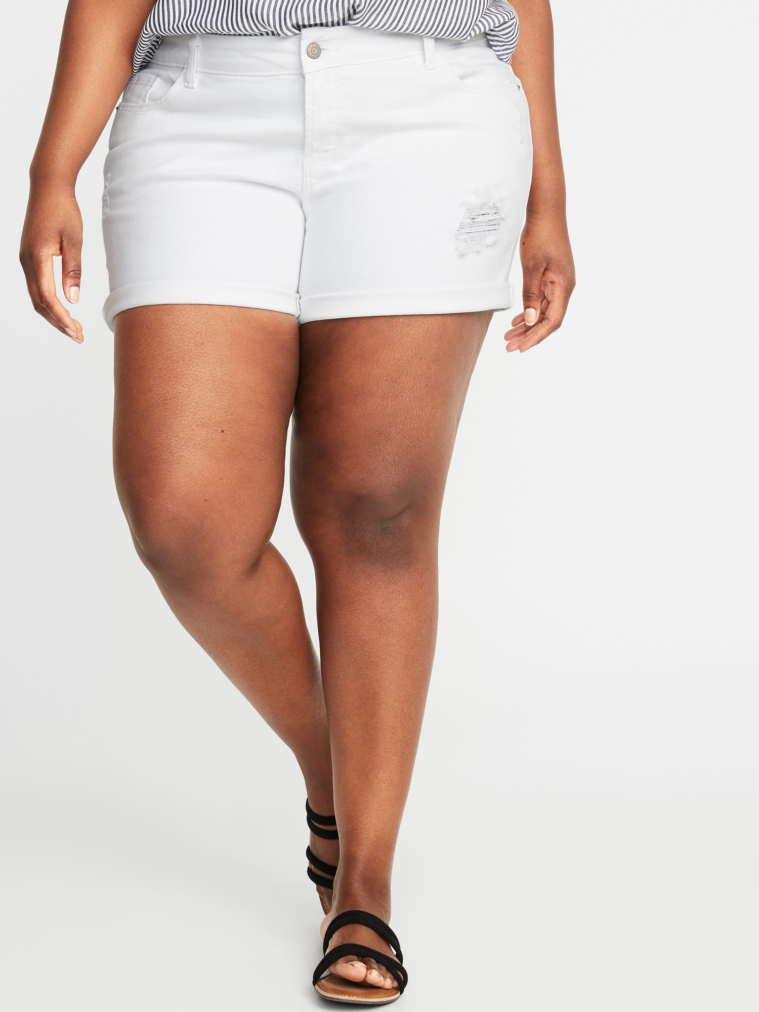dc582338e4 Mid-Rise Distressed Boyfriend Plus-Size Denim Shorts - 5-inch inseam ...