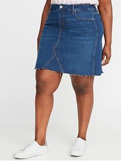 High-Waisted Secret-Slim Pockets Plus-Size Jean Skirt