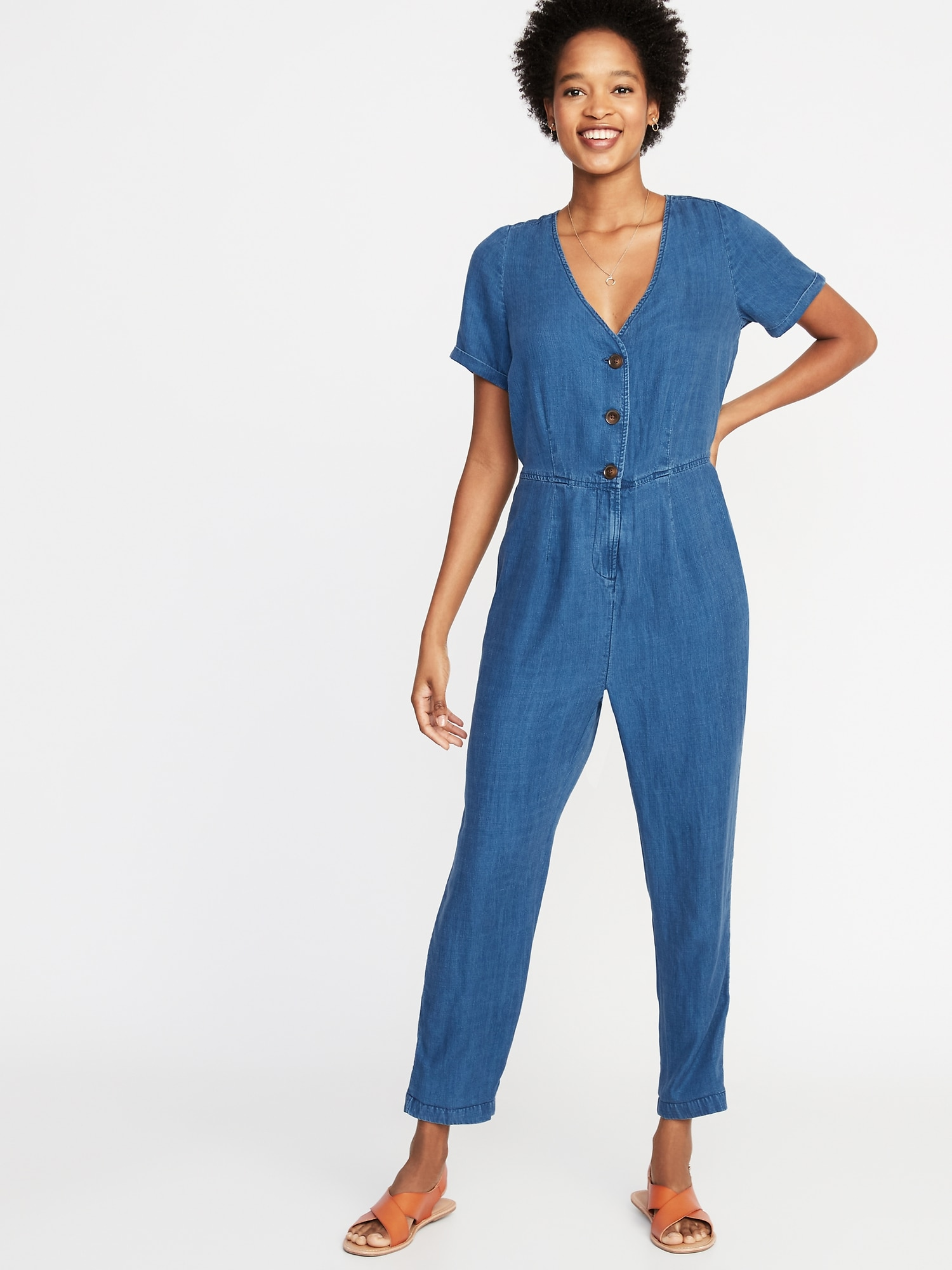 82a0a177548 Chambray V-Neck Button-Front Jumpsuit for Women