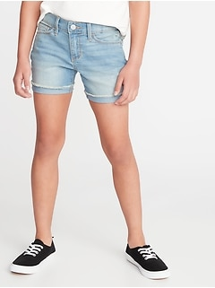 Rolled Fray-Hem Jean Shorts For Girls