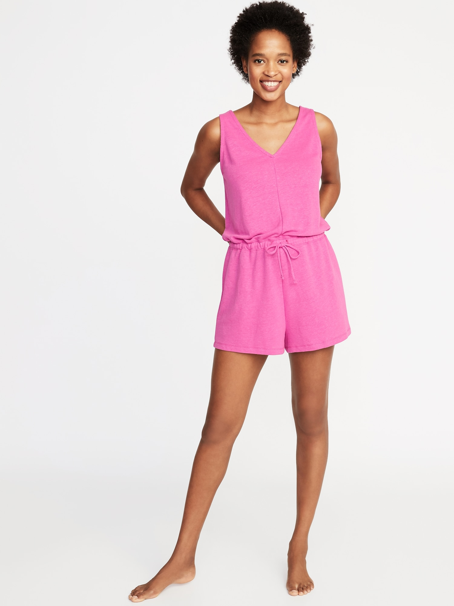 7ea7de10dfb3f Waist-Defined French-Terry Romper for Women | Old Navy