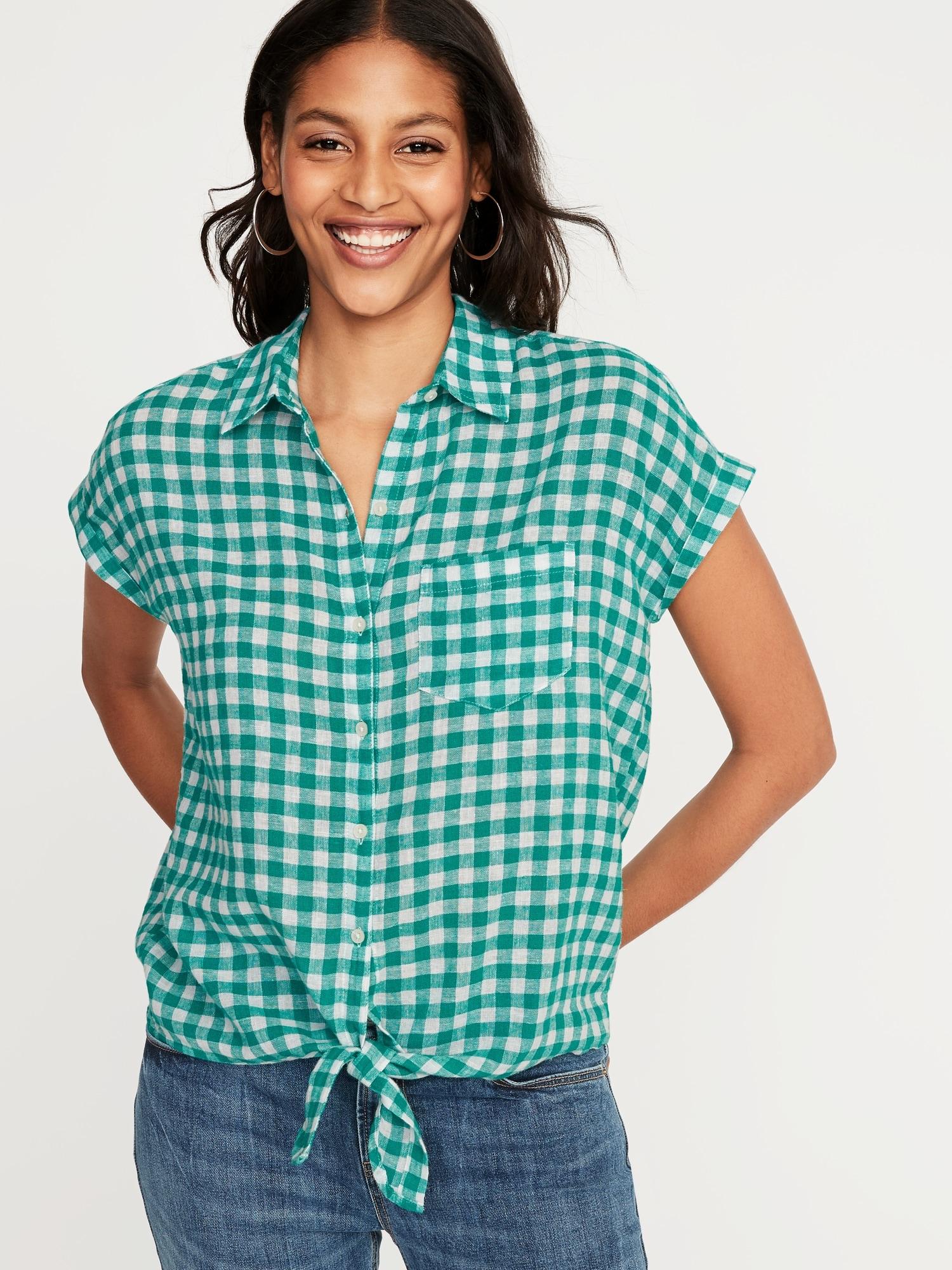dedc262d4b621 Patterned Tie-Hem Linen-Blend Shirt for Women   Old Navy