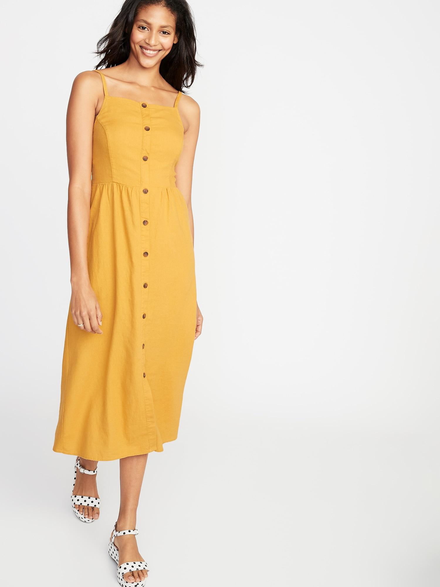 36ec9e79dd9 Square-Neck Button-Front Linen-Blend Midi for Women