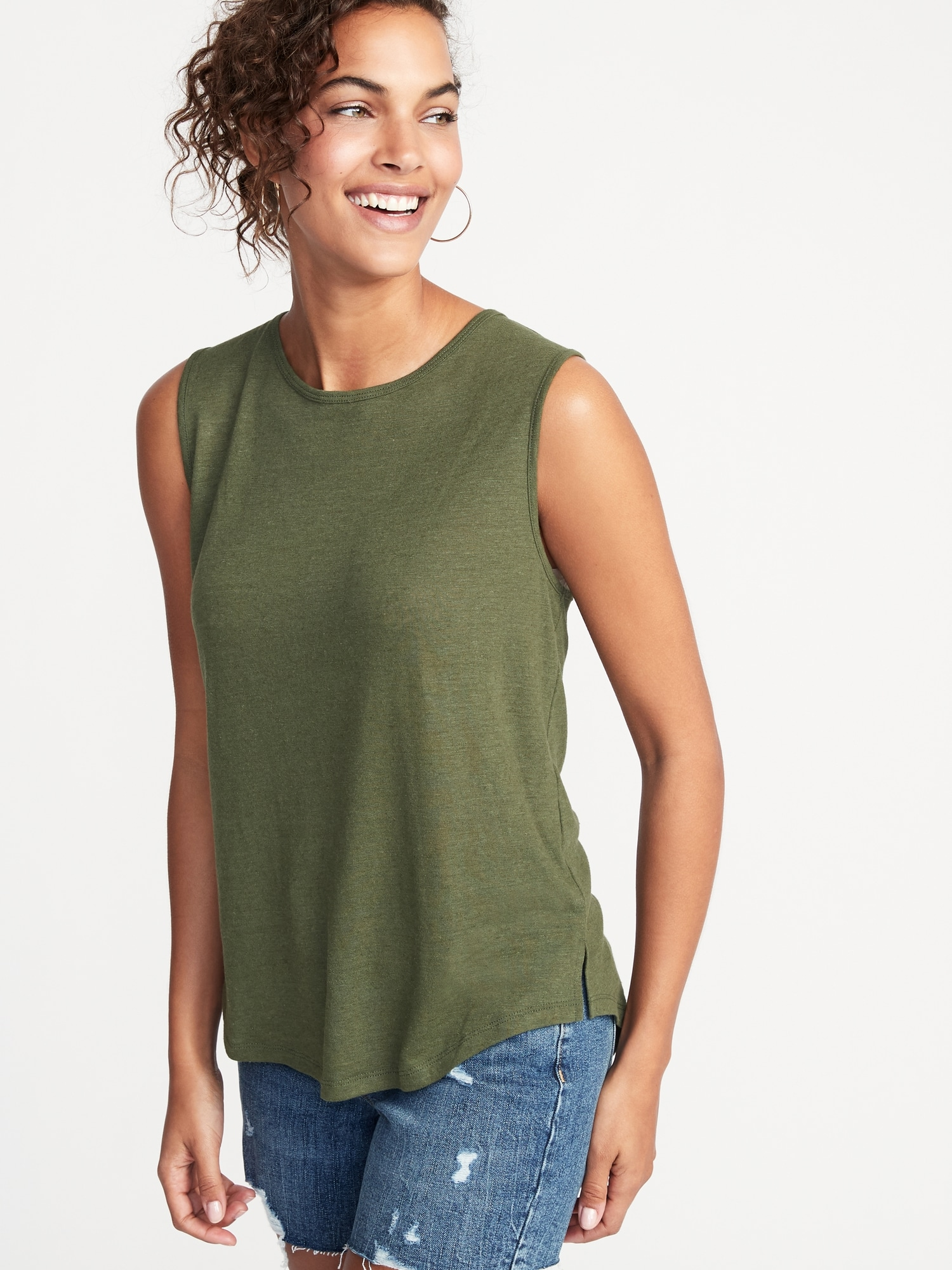 f5f8eac8de36 Relaxed Tie-Back Linen-Blend Sleeveless Top For Women   Old Navy