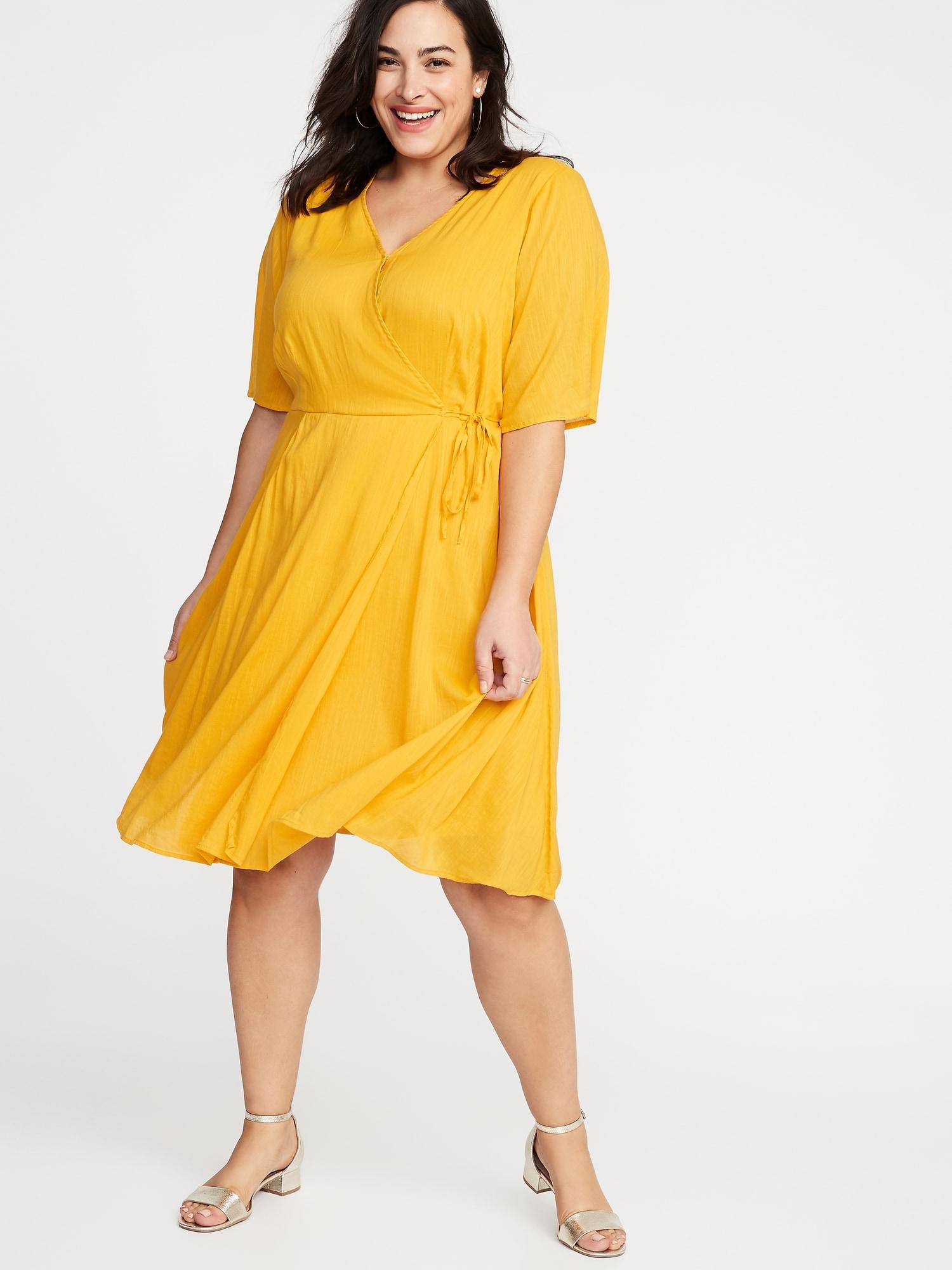 918af578b5d Faux-Wrap Waist-Defined Plus-Size Dress