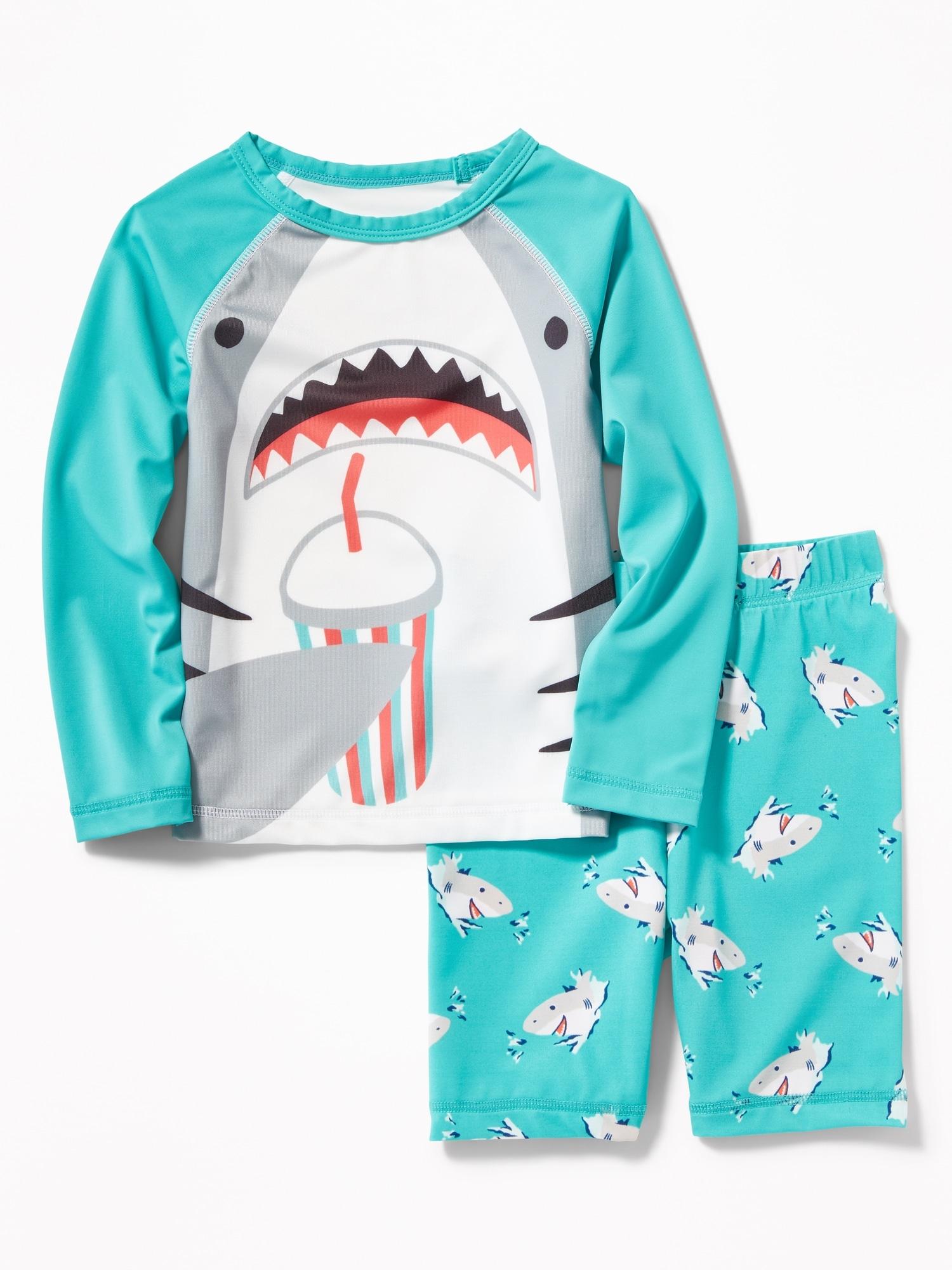 ccb34b98 Shark-Graphic Rashguard Swim Set for Toddler Boys | Old Navy